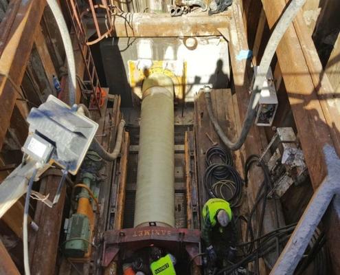 Flowtite pressure pipe jacking Junikowski sewer